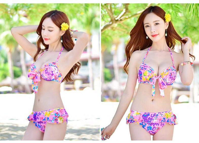 Bộ đồ bơi nữ 3 mảnh họa tiết ngọt ngào